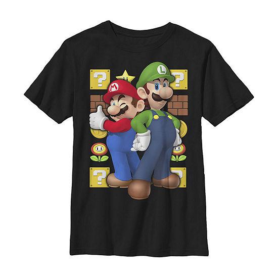 Super Mario Luigi Thumbs Up Little Kid / Big Kid Boys Slim Short Sleeve T-Shirt