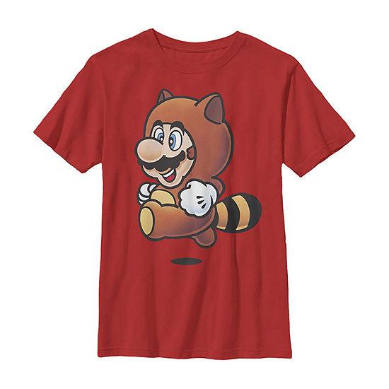 Super Mario Tanooki Suit Jump Little Kid / Big Kid Boys Slim Short Sleeve T-Shirt