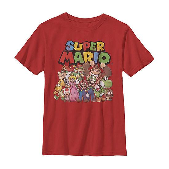 Super Mario Full Cast Group Shot Classic Boys Crew Neck Short Sleeve T-Shirt Preschool / Big Kid Slim
