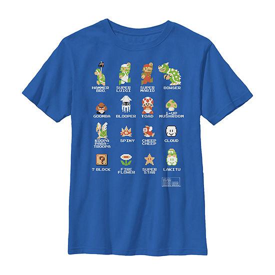 Super Mario 8-Bit Good & Bad Characters Boys Crew Neck Short Sleeve T-Shirt Preschool / Big Kid Slim