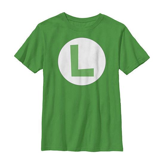 Super Mario Luigi Icon Costume Little Kid / Big Kid Boys Slim Short Sleeve T-Shirt