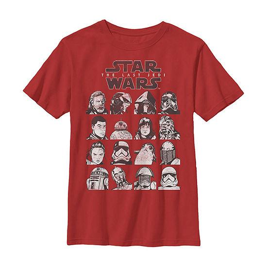 Last Jedi Hero & Villain Mugshots Boys Crew Neck Short Sleeve Star Wars T-Shirt Preschool / Big Kid Slim