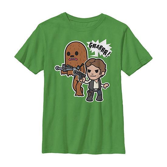 Han Solo Chewie Cute Cartoon Style Boys Crew Neck Short Sleeve Star Wars T-Shirt Preschool / Big Kid Slim