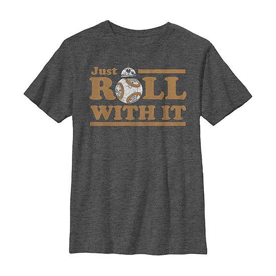 Bb-8 Roll With It Boys Crew Neck Short Sleeve Star Wars T-Shirt Preschool / Big Kid Slim