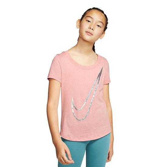 Nike Girls Crew Neck Short Sleeve Graphic T-Shirt - Big Kid