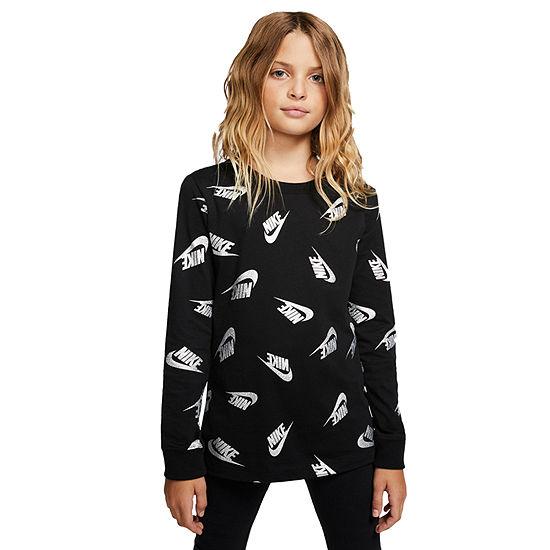 Nike Girls Crew Neck Long Sleeve Graphic T-Shirt - Big Kid