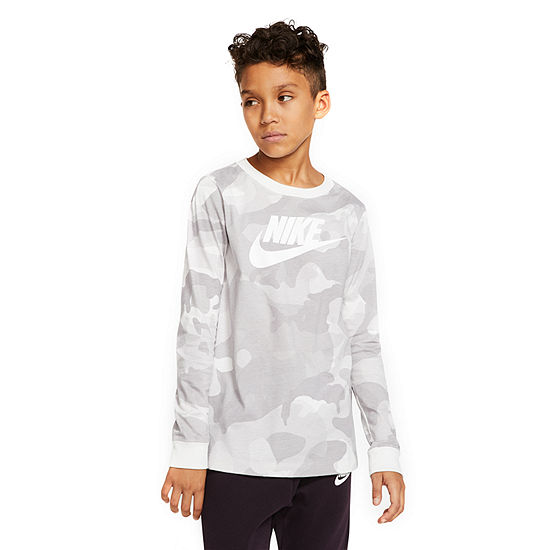 Nike Boys Crew Neck Long Sleeve Graphic T-Shirt - Big Kid