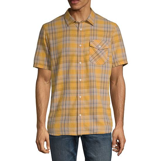 Vans Mens Short Sleeve Plaid Button-Down Shirt