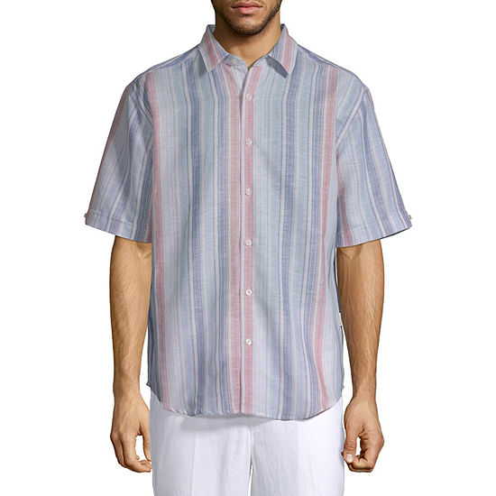 Cubavera Mens Short Sleeve Striped Button-Front Shirt