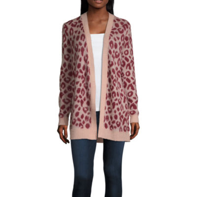 Society And Stitch-Juniors Womens Long Sleeve Open Front Animal Cardigan