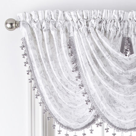 JCPenney Home Hilton Jacobean Rod-Pocket Waterfall Valance, One Size , Silver
