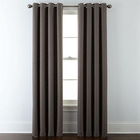 Liz Claiborne Quinn Basketweave Energy Saving Light-Filtering Grommet-Top Single Curtain Panel, One Size , Brown