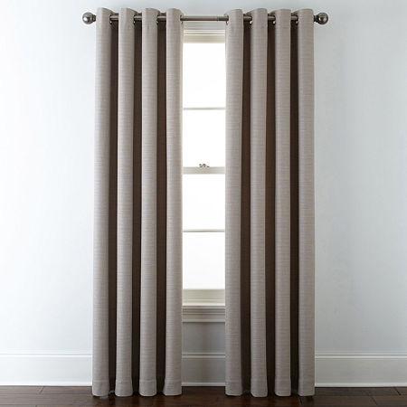 Liz Claiborne Quinn Basketweave Energy Saving Light-Filtering Grommet-Top Single Curtain Panel, One Size , Beige