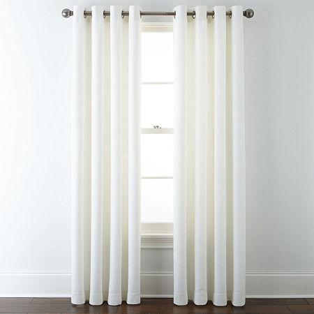 Liz Claiborne Quinn Basketweave Energy Saving Light-Filtering Grommet-Top Single Curtain Panel, One Size , White