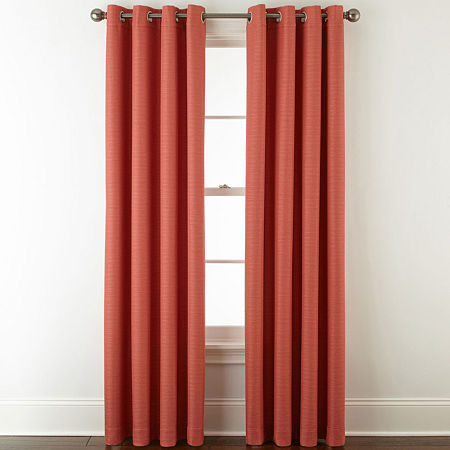 Liz Claiborne Quinn Basketweave Energy Saving Light-Filtering Grommet-Top Single Curtain Panel, One Size , Pink