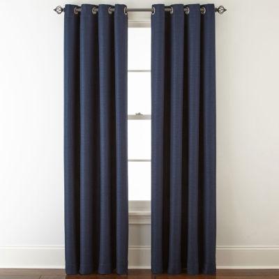 Liz Claiborne Quinn Basketweave Energy Saving Light-Filtering Grommet-Top Single Curtain Panel