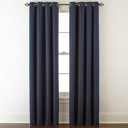 Liz Claiborne Quinn Basketweave Energy Saving Light-Filtering Grommet-Top Single Curtain Panel, One Size , Blue
