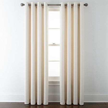 Liz Claiborne Quinn Basketweave Energy Saving Light-Filtering Grommet-Top Single Curtain Panel, One Size , White