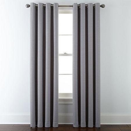 Liz Claiborne Quinn Basketweave Energy Saving Light-Filtering Grommet-Top Single Curtain Panel, One Size , Gray