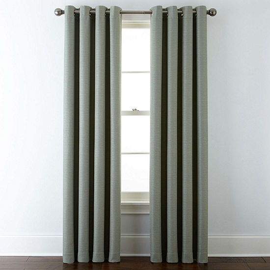 Liz Claiborne Quinn Basketweave Energy Saving Light-Filtering Grommet-Top Single Curtain Panel