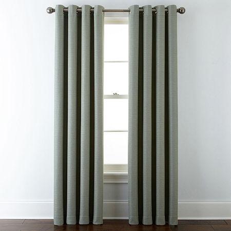 Liz Claiborne Quinn Basketweave Energy Saving Light-Filtering Grommet-Top Single Curtain Panel, One Size , Green
