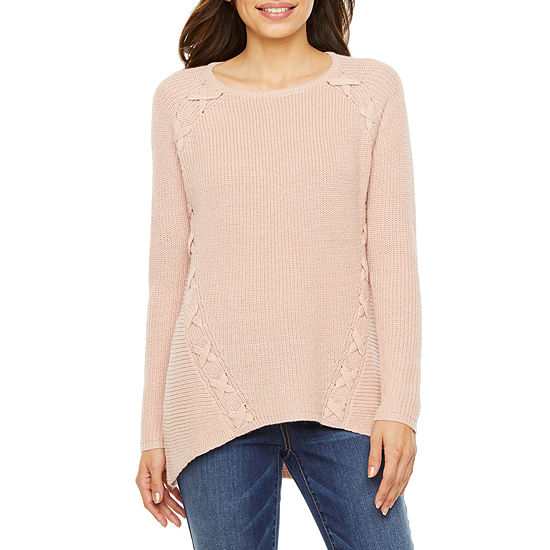 a.n.a Womens Round Neck Long Sleeve Pullover Sweater - Petite