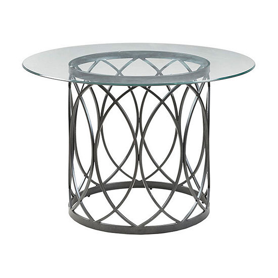 Madison Park Stephie Round Glass-Top Dining Table