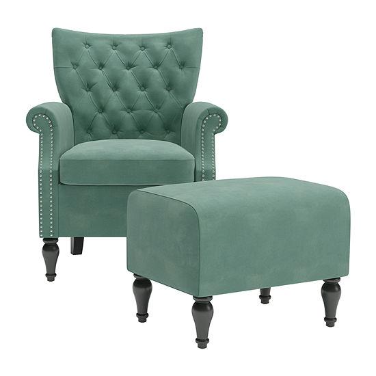 Khaleesi Roll-Arm Chair and Ottoman