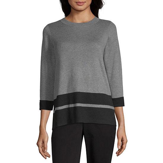 Liz Claiborne Studio Womens Crew Neck 3/4 Sleeve  Pullover Sweater