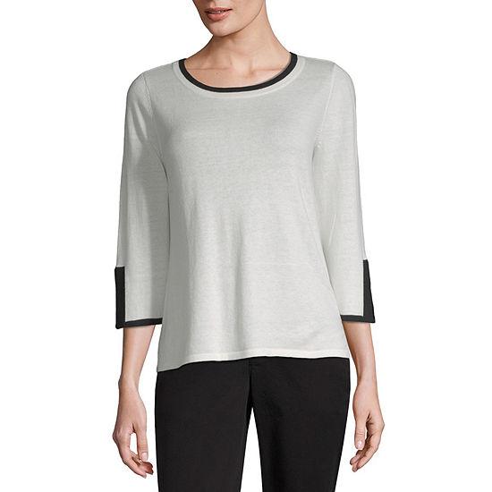 Liz Claiborne Womens Round Neck 3/4 Sleeve Pullover Sweater