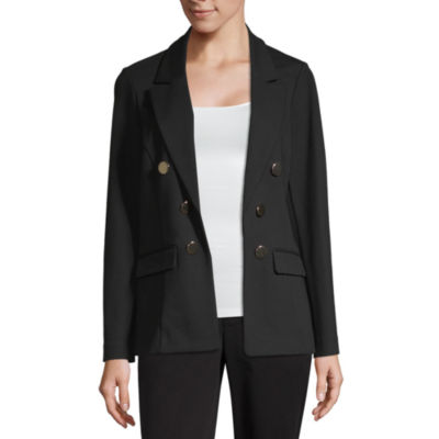Worthington Womens Classic Fit Ponte Double Breasted Blazer