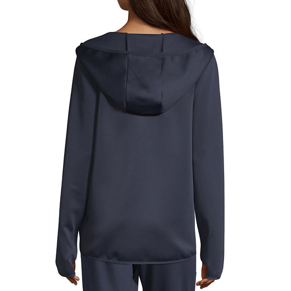 Xersion Womens Hooded Neck Full Zip Fashion Scuba