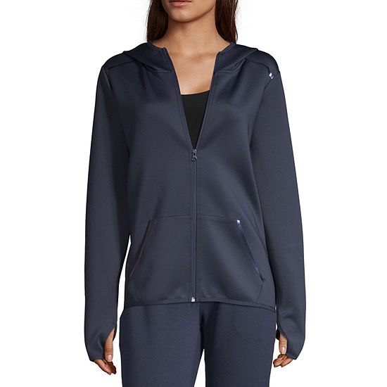 Xersion Womens Hooded Neck Full Zip Fashion Scuba