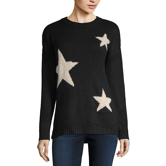 a.n.a Womens Crew Neck Long Sleeve Star Pullover Sweater