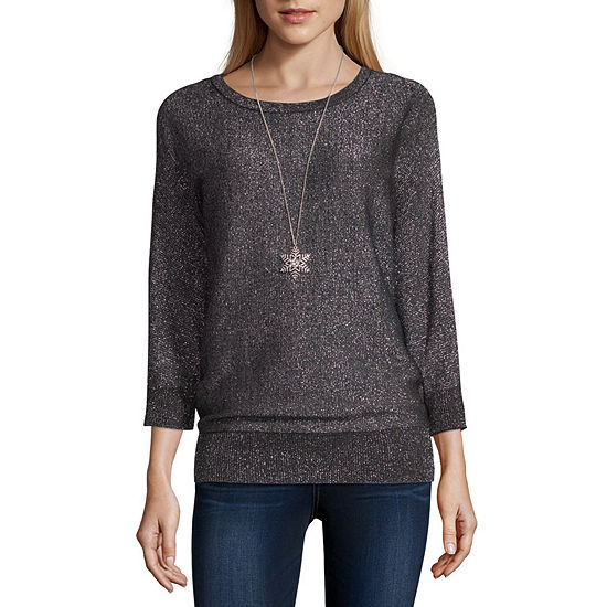 Alyx Womens Round Neck 3/4 Sleeve Pullover Sweater