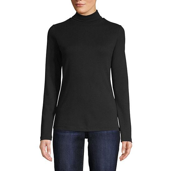 St. John's Bay-Womens Turtleneck Long Sleeve T-Shirt