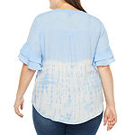 Alyx Womens Ruffle Sleeve Ombre Tie Front Woven Top - Plus