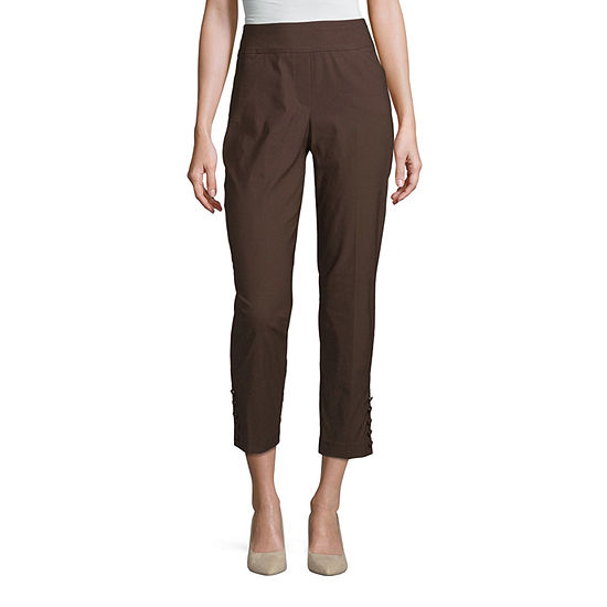 Worthington Womens Mid Rise Slim Covered Button Pull-On Pants - Plus