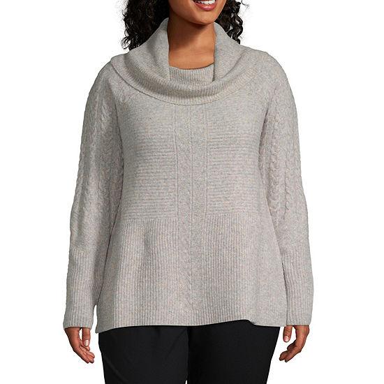 Liz Claiborne Long Sleeve Cowl Neck Cable Sweater - Plus