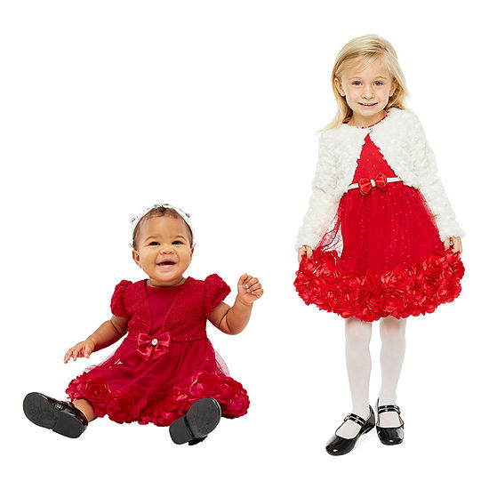 Sister & me Nanette Baby Red Rosette Dress