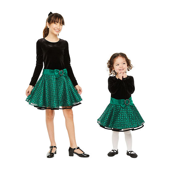 Sister & me Bonnie Jean Long Sleeve Green Drop Waist Party Dress