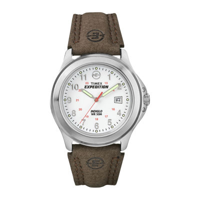 Timex® Expedition® Field Metal Mens Brown Leather Strap Watch T443819J