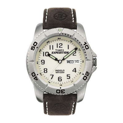 Timex® Expedition® Elevated Mens Brown Leather Strap Watch T466819J