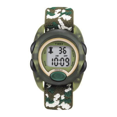 Timex® Kids Green Camo Fabric Strap Digital Watch T719129J