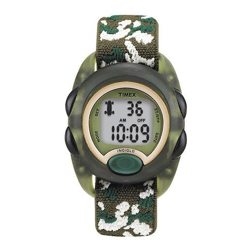 Timex® Kids Green Camo Fabric Strap Digital Watch T719129J