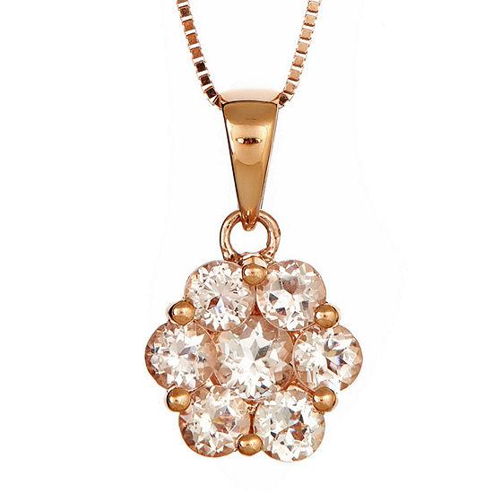 LIMITED QUANTITIES  Genuine Morganite Flower Pendant Necklace