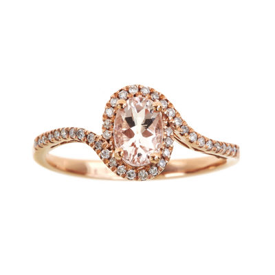LIMITED QUANTITIES  Genuine Morganite and Diamond Oval Ring