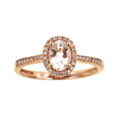 LIMITED QUANTITIES  Genuine Morganite and Diamond Halo Ring
