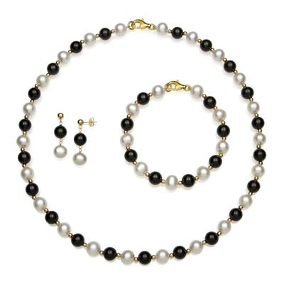 Cultured Freshwater Pearl and Onyx 3-pc. Boxed Jewelry Set