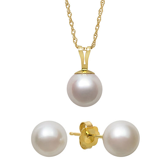 Cultured Akoya Pearl 14K Gold Pendant Earring and Necklace Set